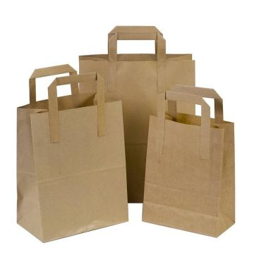 Brown Kraft Tape Handled Carriers - Small