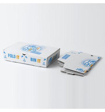 Fold IT Bin IT Corrugated Fish & Chip Boxes - Hook & Fish Design - Small