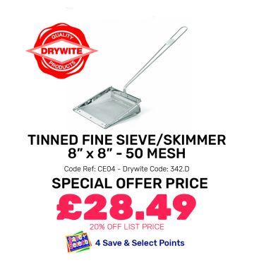 """Tinned Fine Sieve/Skimmer (8 x 8"""") 50 Mesh - Special Offer"""