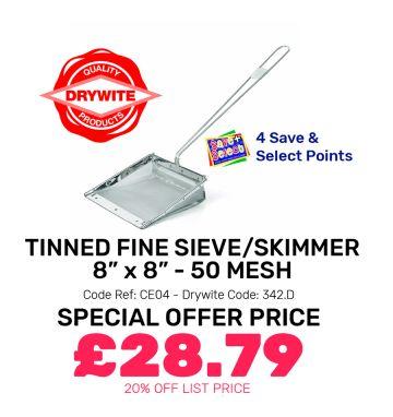 """Tinned Fine Sieve/Skimmer 8"""" x 8"""" - 50 Mesh - Special Offer"""