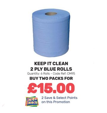 Keep It Clean 2 Ply Blue Rolls - Special Offer