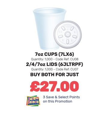 7oz Cups and Lids - Special Offer