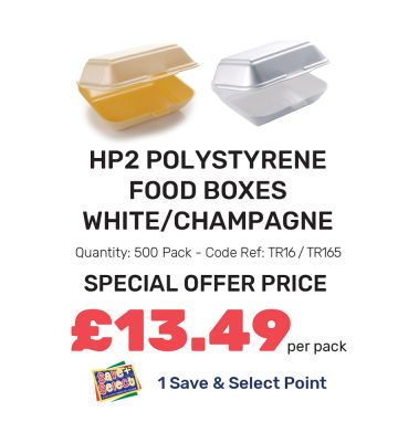 HP2 Polystyrene Food Boxes - White/Champagne - Special Offer