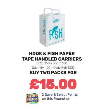 Hook & Fish Paper Tape Handled Carriers - Special Offer