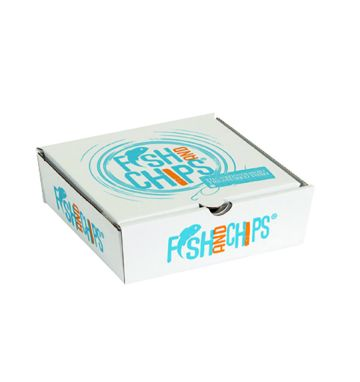 Corrugated Fish & Chip Boxes - Hook & Fish Design - Chip