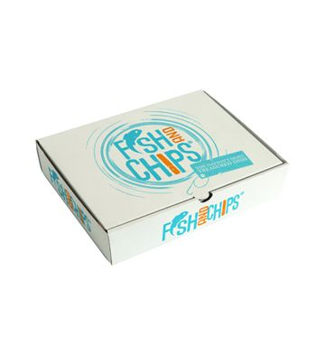 Corrugated Fish & Chip Boxes - Hook & Fish Design - Small
