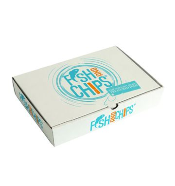 Corrugated Fish & Chip Boxes - Hook & Fish Design - Medium
