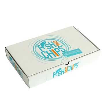 Corrugated Fish & Chip Boxes - Hook & Fish Design - Large
