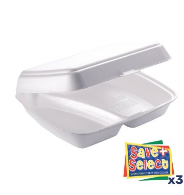HP4/2 (2 Compartment) White Food Boxes