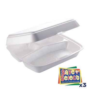 HP4/3 (3 Compartment) White Food Boxes